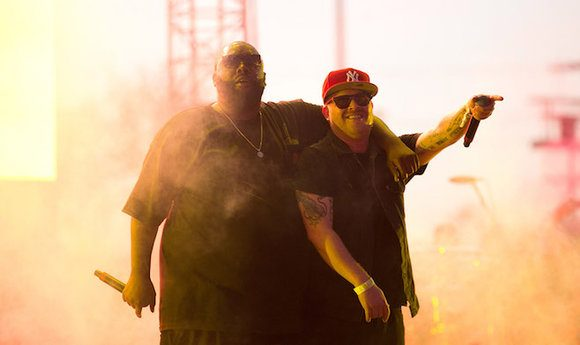 LOS ANGELES, CA - AUGUST 22:  Run the Jewels perform at FYF Fest 2015 at the LA Sports Arena & Exposition Park on August 22, 2015 in Los Angeles, California.  (Photo by Gabriel Olsen/FilmMagic)